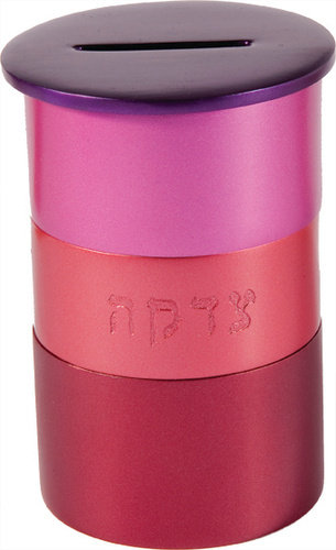 Tzedakah Box pink  anodized,Emanuel