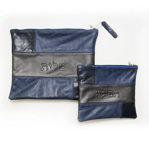 Genuine Leather Tallit and Tefillin bag blue and black  LR03