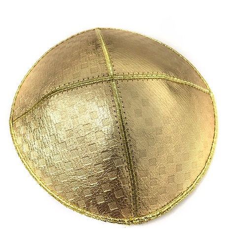 Gold and Leather Kippah With Little Square Shapes