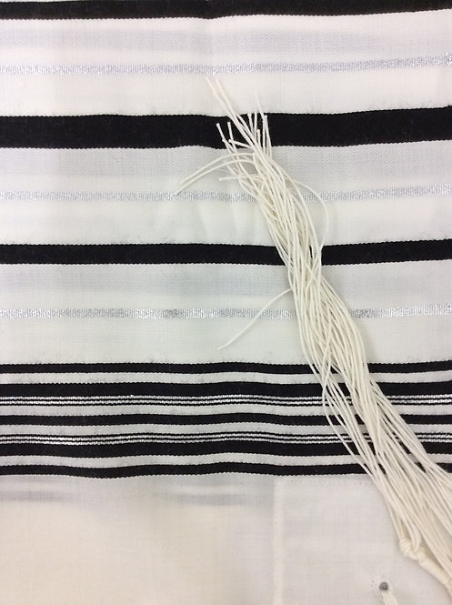 Tallit with Black Stripes with silver lines