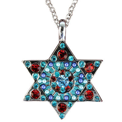 Crystals+ Beads with Chain Necklace- Star of David multicolor