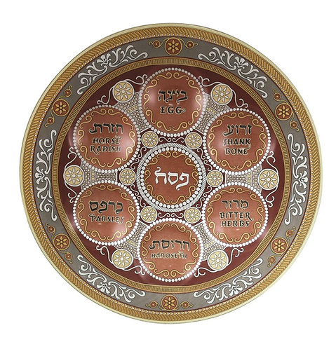 Glass Passover plate 33cm- with Ornate Design