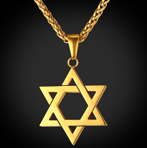 Gold Star Of David Pendant Necklace Stainless Steel