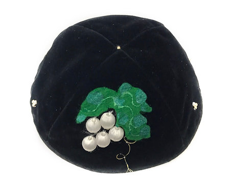 Black Velvet Kippah With Patterns # 02