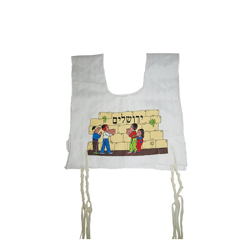 Children's Tzitzit Garment with Jerusalem, Children and Kotel