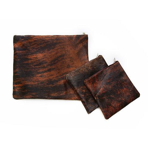 Genuine fur Leather Tallit and Tefillin bag brown FR01