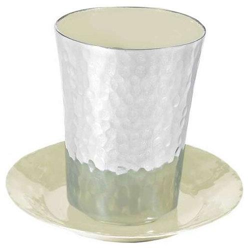 Kiddush cup- Hammer work Enamel painting- white
