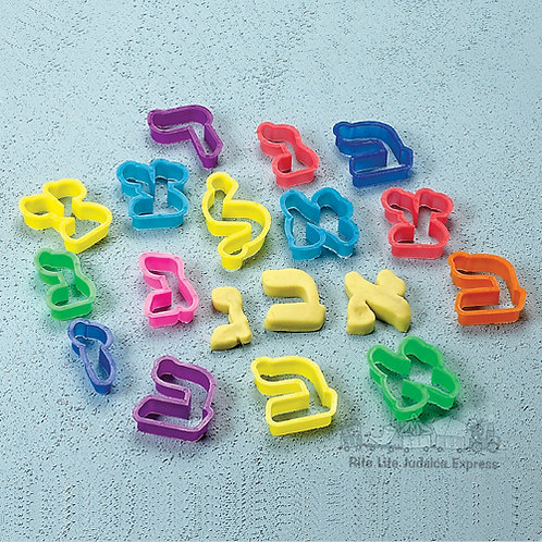 ALEF BET COOKIE CUTTERS, ASSORTED COLORS, 27 LETTERS/BOX