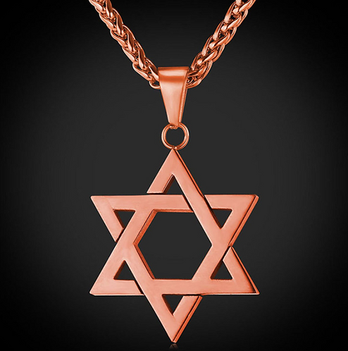 Rose Gold Star Of David Pendant Necklace Stainless Steel