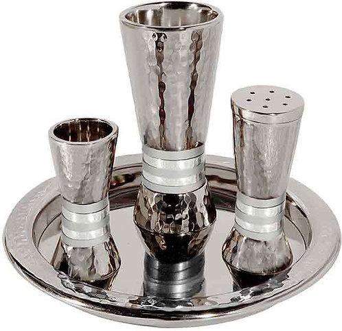 Emanuel Havdallah Set - nickel + hammerwork - silver  rings