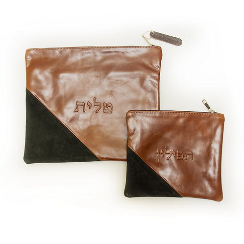 Genuine Leather Tallit and Tefillin bag and brown   LR09