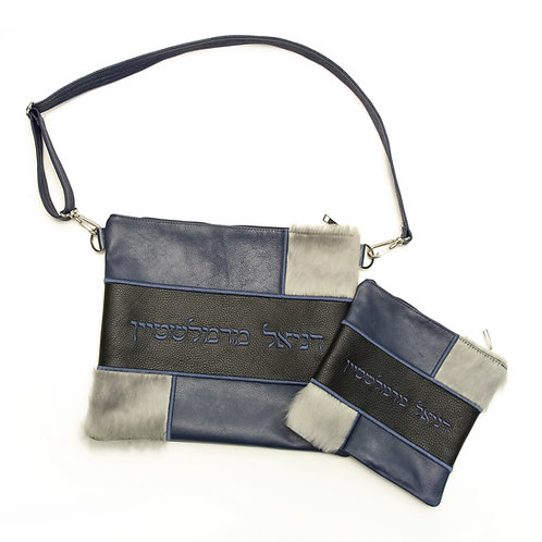 Genuine mix fur Leather Tallit and Tefillin bag blue and white MFR01