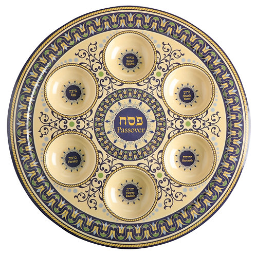 Bamboo Fiber Passover Plate 35 cm- Blue