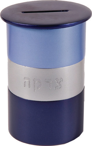 Tzedakah Box blue anodized,Emanuel
