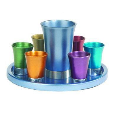 Yair Emanuel Multicolored Anodized Aluminum Kiddush Set with Tray