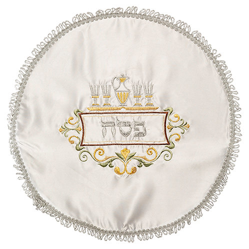 Elegant White Satin Matzah Cover with Colorful Embroidery UK64998