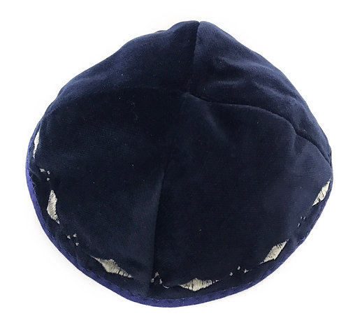 Navy Velvet Kippah With Patterns # 15