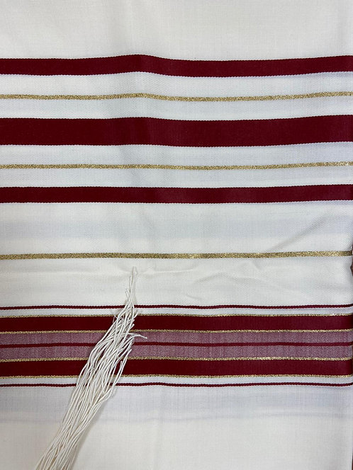 Tallit with Burgundy Stripes with gold lines
