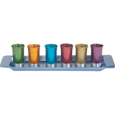 Kiddush Set with Multi Coloured Cups & Tray- Yair Emanuel