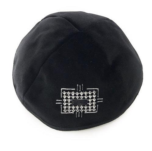 Black Velvet Kippah With Patterns # 06