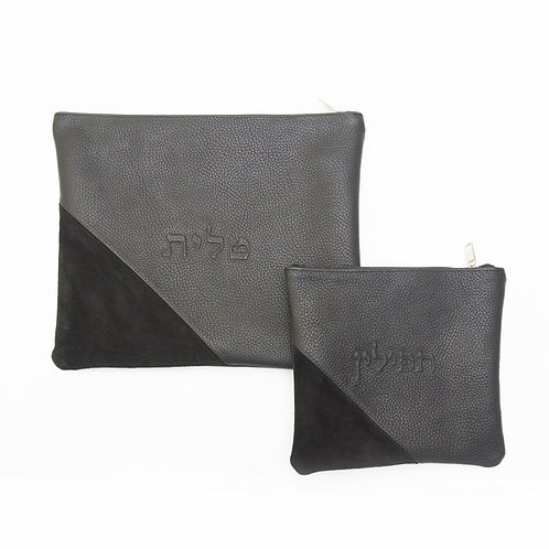 Genuine Leather Tallit and Tefillin bag grey and black LR01