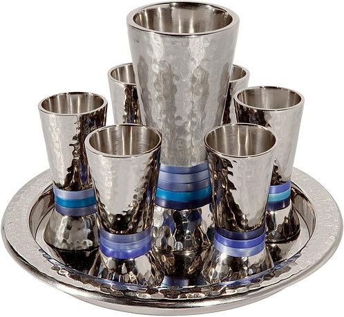 Set 6 cups + kiddush cup - nickel + hammerwork - blue rings, Emanuel