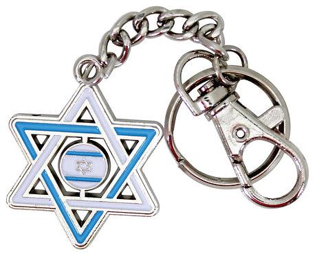 Keychain with Enamel 6cm- Star of David #01