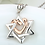 Thumbnail: 925 Sterling Silver Star of David with Rose Gold Color Love Heart Pendants