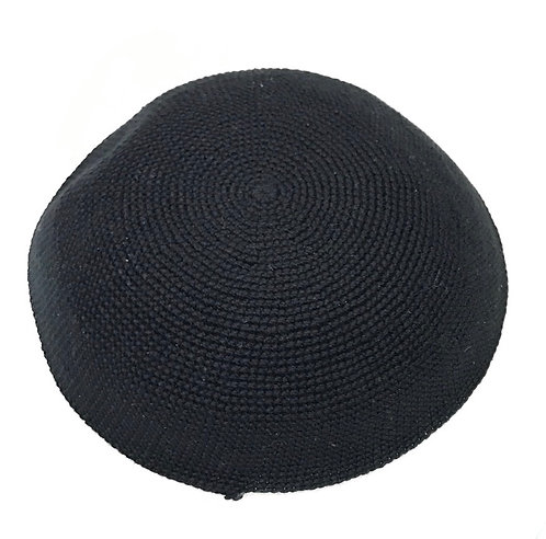 Black Hand Knitted Kippah