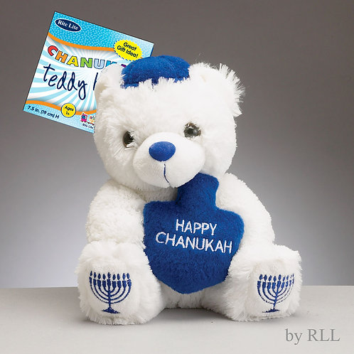"CHANUKAH TEDDY BEAR WITH PLUSH DREIDEL, 7"""