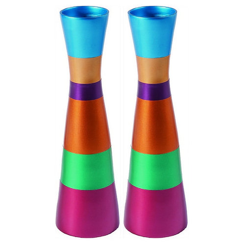 Yair Emanuel Anodized Aluminum Shabbat Candlesticks with Red and Pink Bands