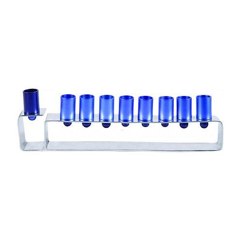 Yair Emanuel Anodized Aluminum Hanukkah Menorah in Blue and Silver HMG-2