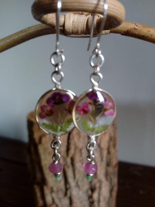 orecchini tondi, pietra:giada rosa, monachella arg.925 fiori:alisso violetta