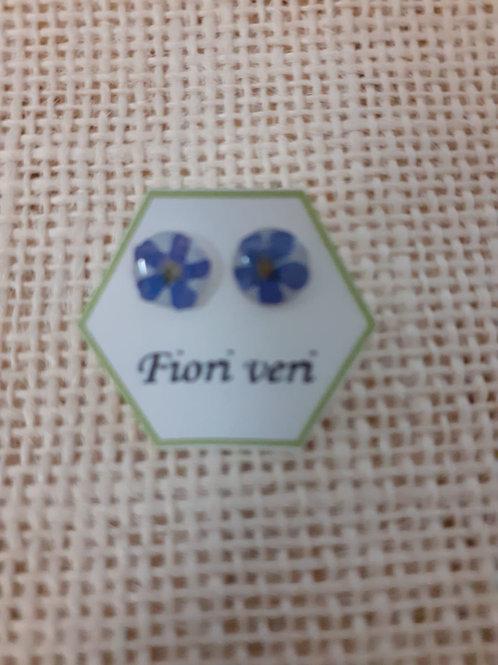 orecchini fondo bianco, nichel free,fiore:miosotys