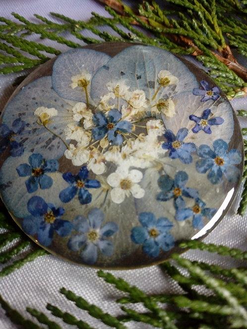 ciondolo maxi, composizione floreale, silver plate