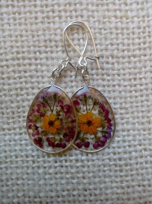 orecchini trasparenti monachella arg.925 ,fiori alisso,biancospino