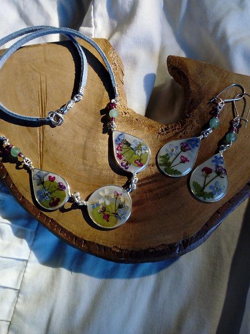 collana-girocollo+orecchini,free nichel,fiori:alisso,miosotys