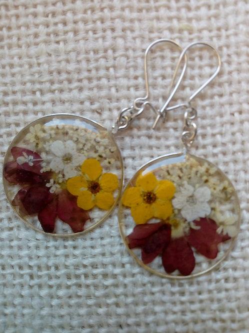 orecchini trasp, monachella ag.925, fiori:bianc. petalo verbena, millefiori
