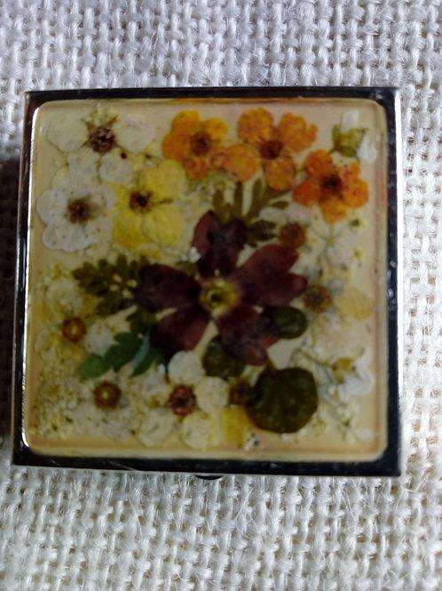 Portapillole, argentatura nichel free, fiori: biancospino, verbena, petali viola