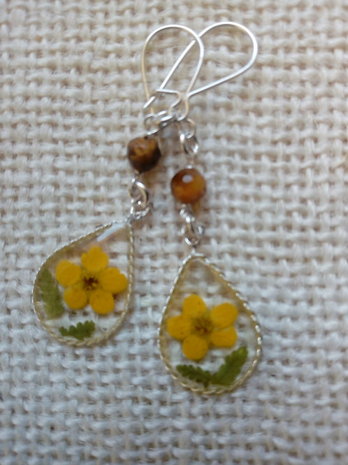 orecchini trasp. monachella ag.925, fiori:biancospino , pietra:occhio tigre