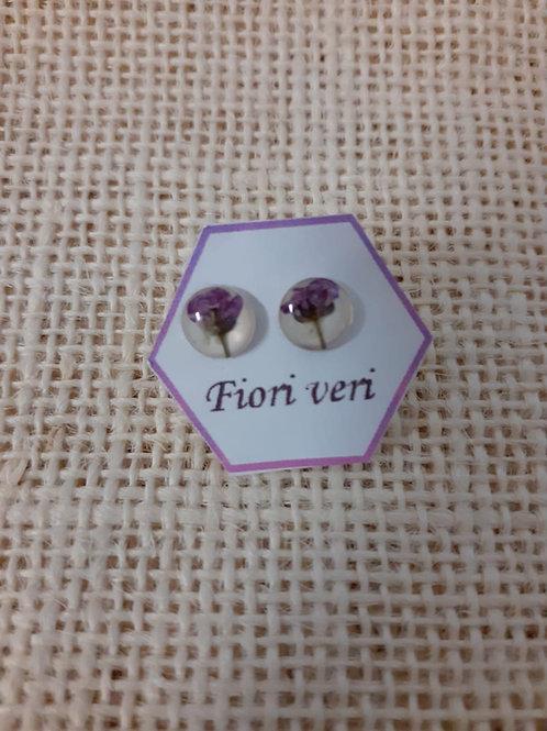 orecchini fondo bianco, nichel free, fiore:alisso viola