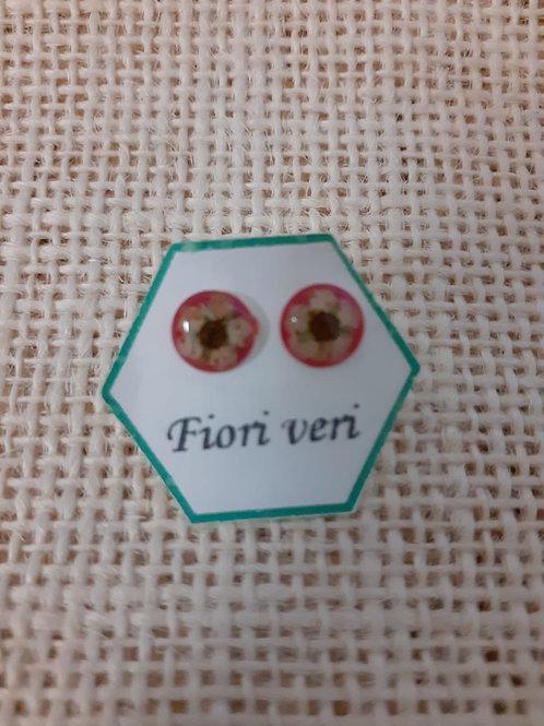 orecchini fondo rosso.nichel free, fiore:biancospino