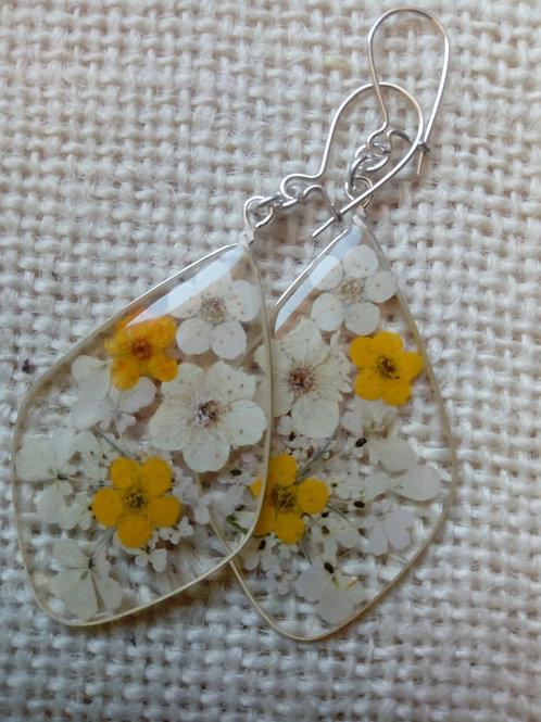 orecchini trasp. monachella ag.925,fiori: millefiori,biancospino