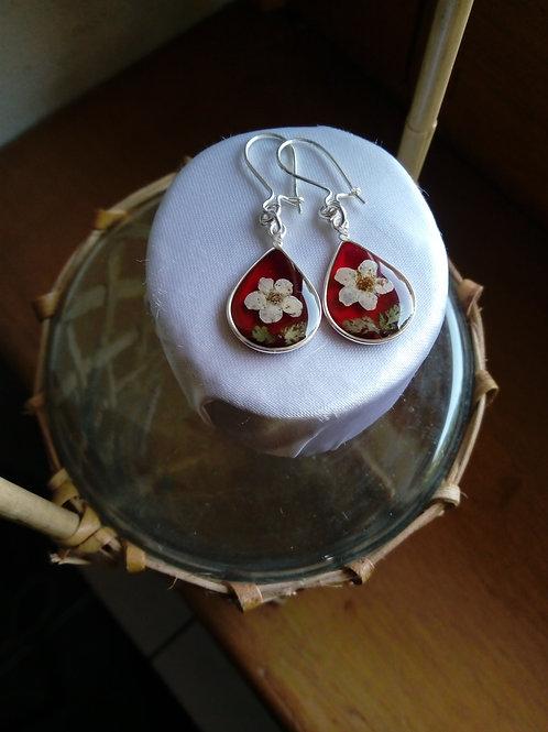 orecchini goccia rosso trasparente,monachella argento 925