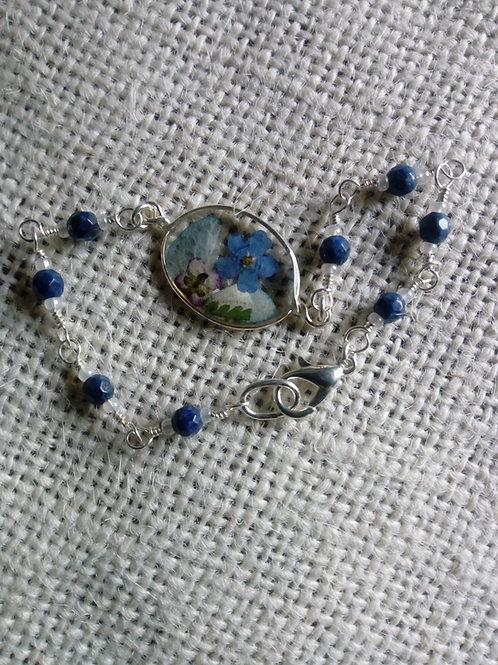 braccialetto con pietre lapis, free nichel, fiori:miosotys