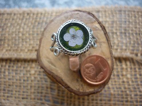 anello silver plate con fiore