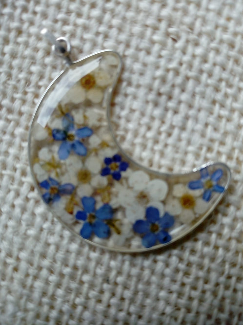 ciondolo luna grande, free nichel, fiori:miosotys, biancospino