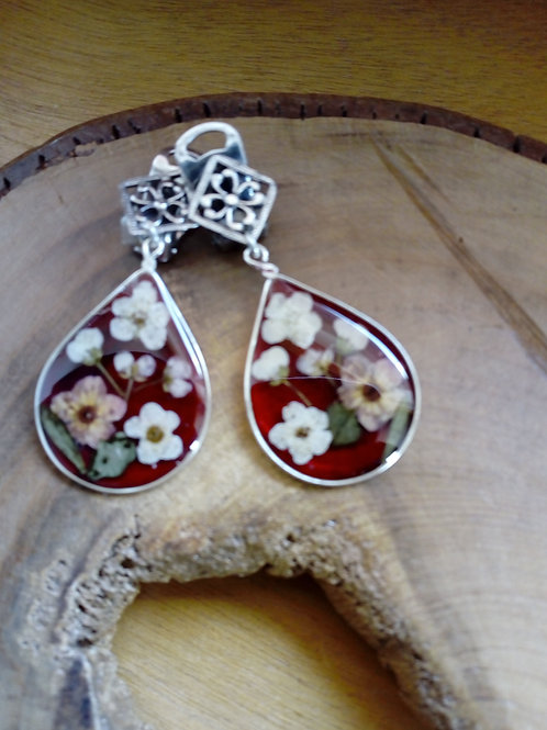 orecchini a goccia fondo rosso vino, clip senza buco