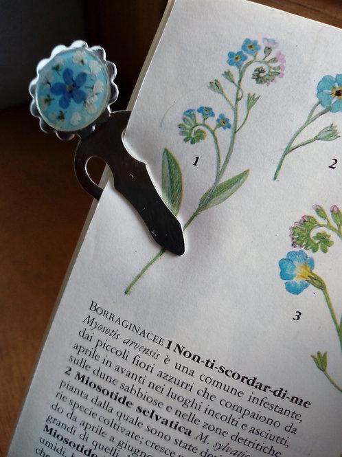 Segnalibro con fiori veri, argentatura nichel free