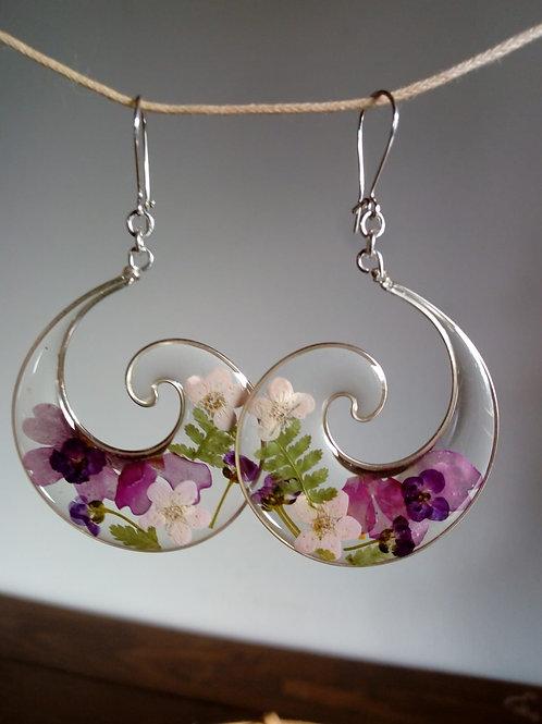 orecchini trasp.-monachella arg.925, fiori:biancospino,felce,alisso